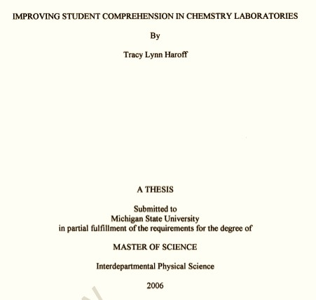 cover sheet for thesis proposal