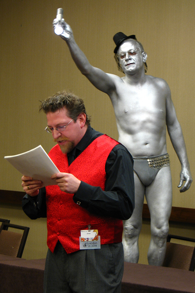 James Bacon, illuminated by Human Spotlight, Dr. Jim Bredt (photo by D. Kessler)